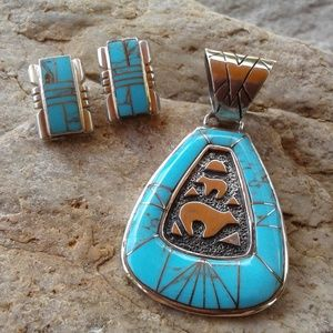 Sterling silver Turquoise inlay Bear SET